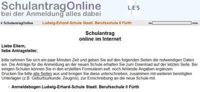 Online Anmeldung neuer Auszubildender an der Ludwig Erhard